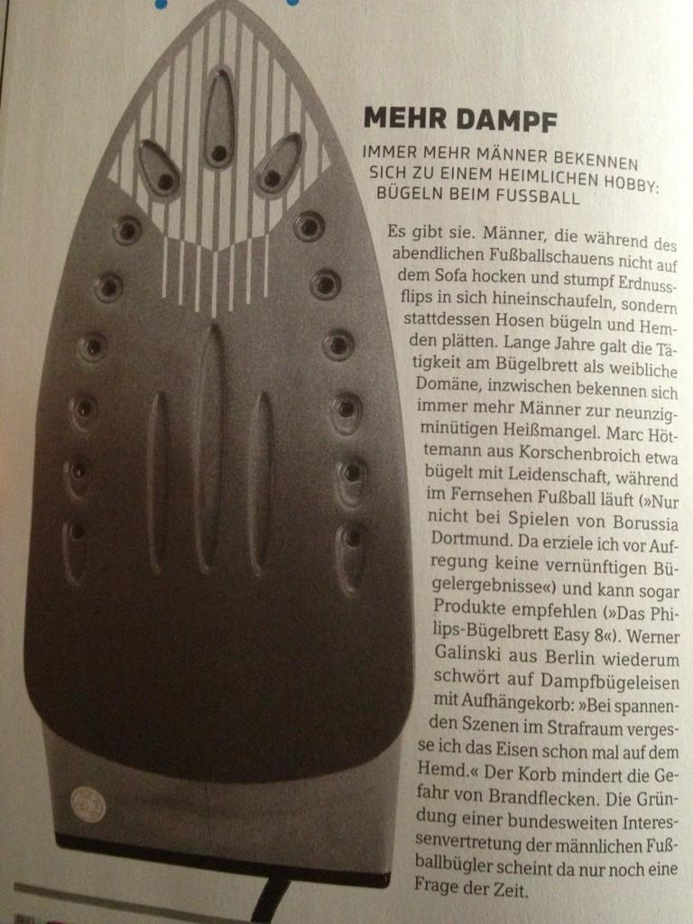 11Freunde Ausgabe 131 Oktober 2012 Bügeln Fußball Männer
