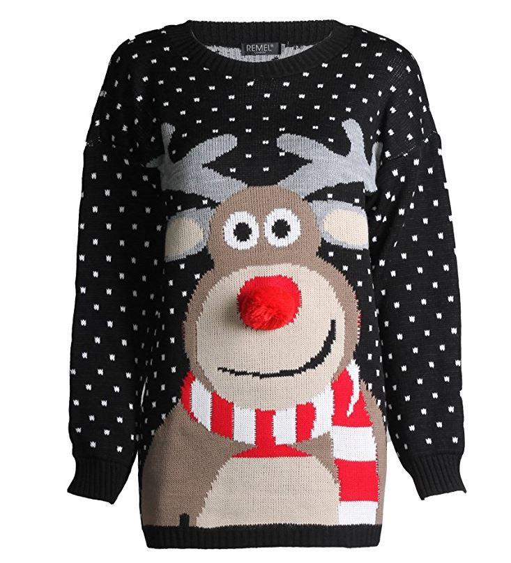 Rudolph Drucken 3D Nase Pom Pom Weihnachts Pullover