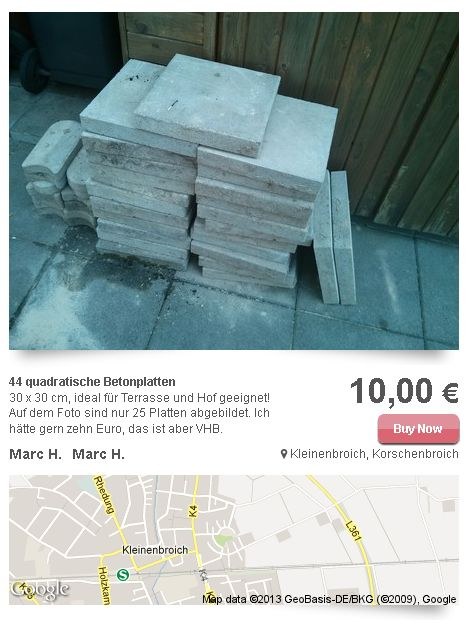 44 quadratische Betonplatten in Kleinenbroich, Korschenbroich Stuffle