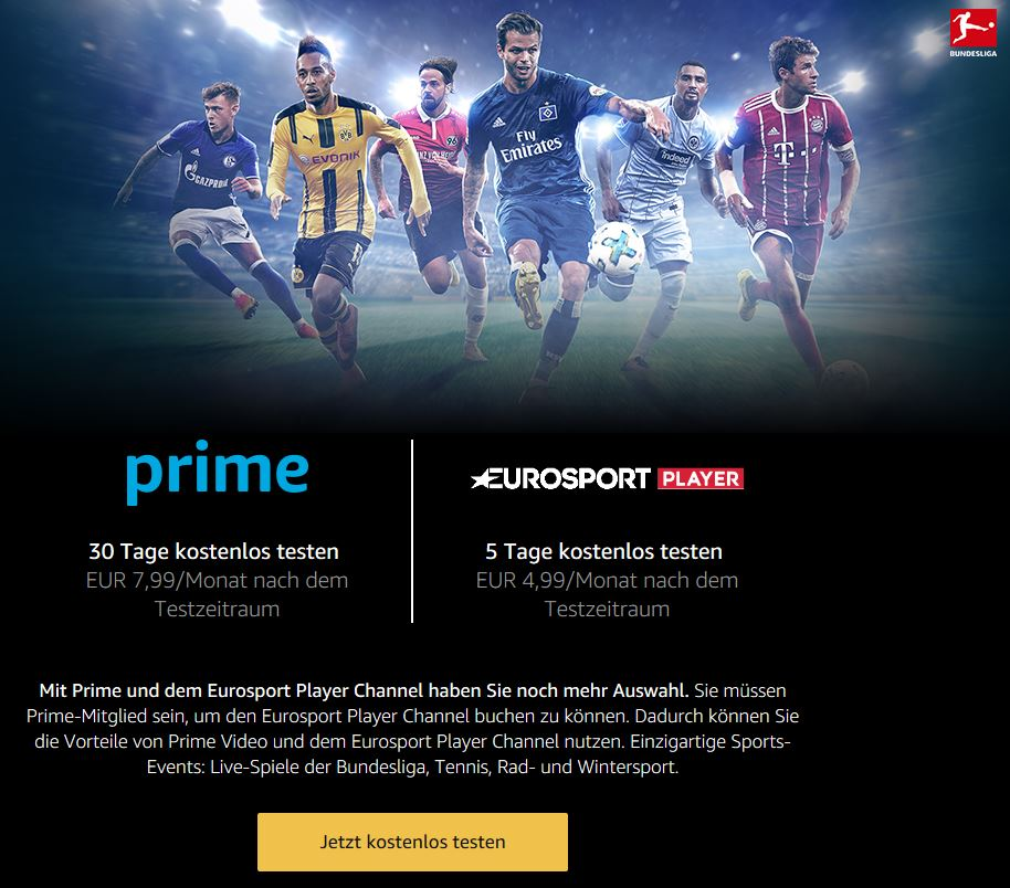 Amazon Bundesliga Eurosport Player Channel kostenlos testen