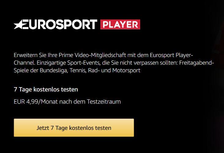 Amazon.de Anmelden für Prime Video Eurosport Player