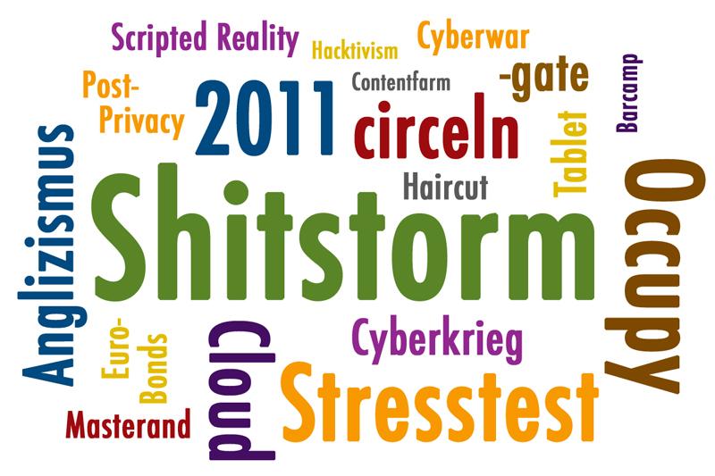 Anglizismus des Jahres 2011 Cloud Wortwolke Shitstorm circeln Stresstest