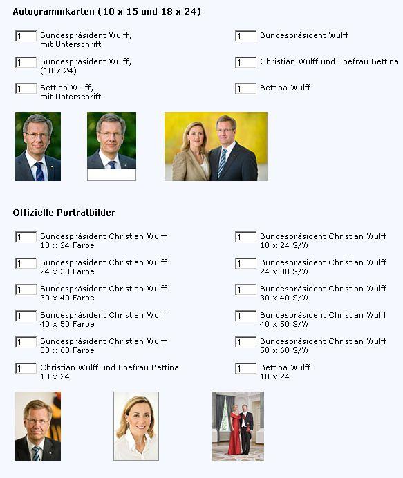 Autogrammkarten kostenlos Bundespräsident Christian Wulff Bettina Wulff bestellen Unterschrift