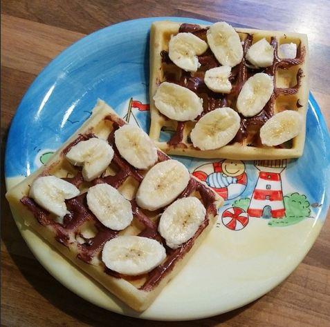 Belgische Waffeln Nutella Bananen