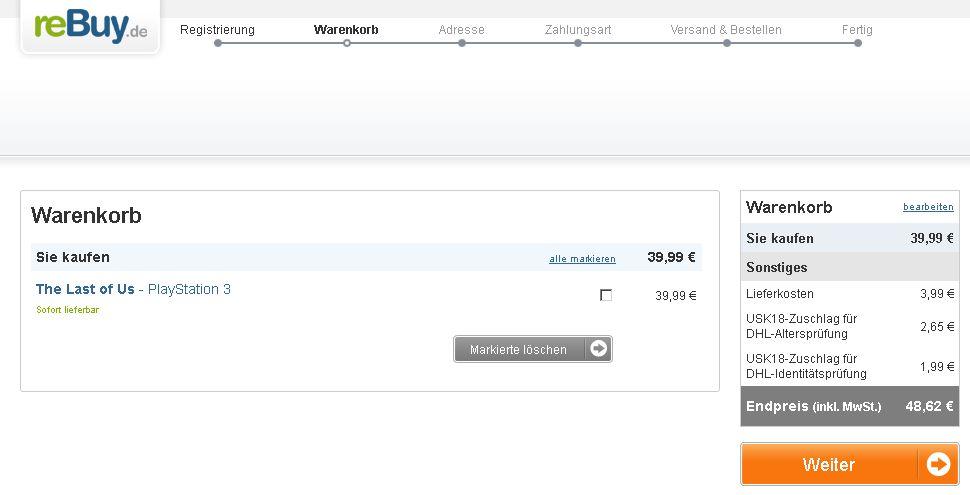 Bestellprozess Warenkorb bearbeiten rebuy.de