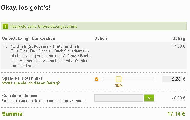 Bestellung Plus Eins Das Google+ für Jedermann - startnext