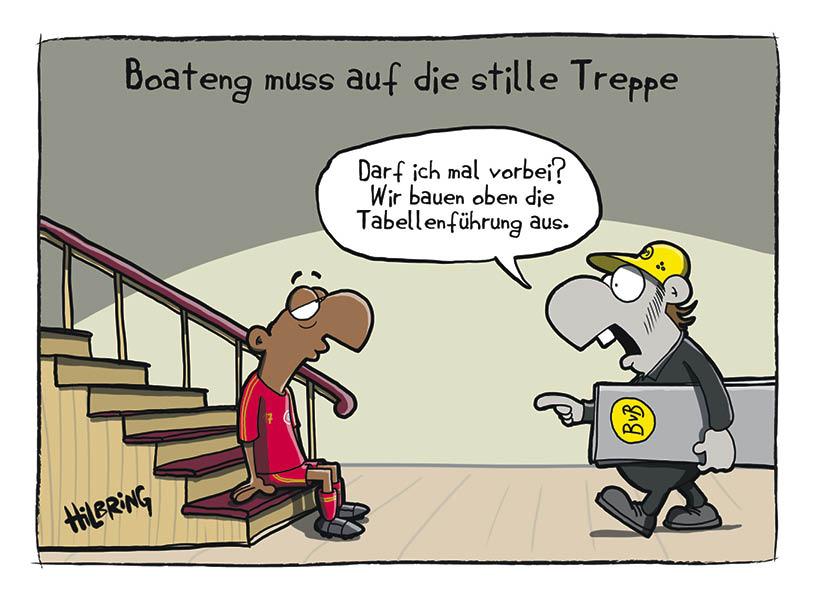 Boateng stille Treppe FC Bayern München BVB Borussia Dortmund Bundesliga Cartoon Oli Hilbring