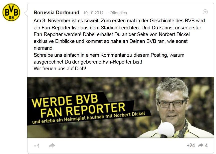 Borussia Dortmund – Google+ Aufruf Fan-Reporter BVB Norbert Dickel