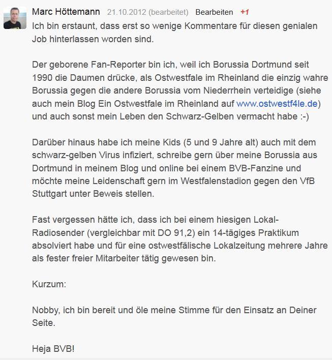 Borussia Dortmund – Google+ Bewerbung Fan-Reporter BVB Norbert Dickel