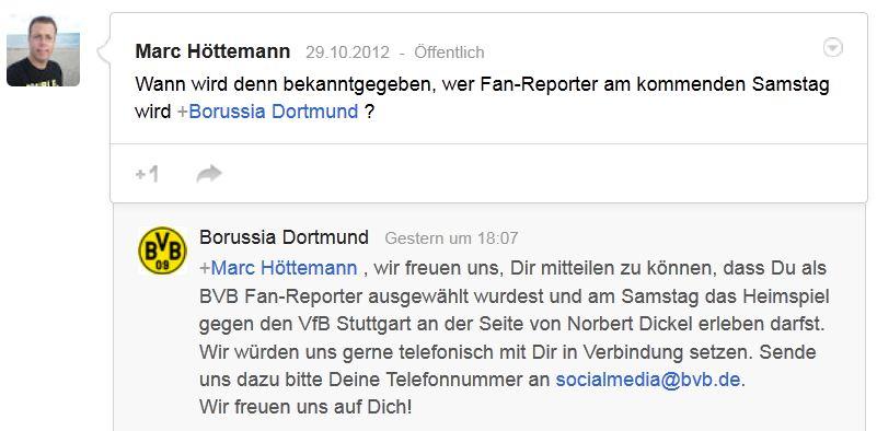 Borussia Dortmund – Google+ Bewerbung Zusage Fan-Reporter BVB Norbert Dickel
