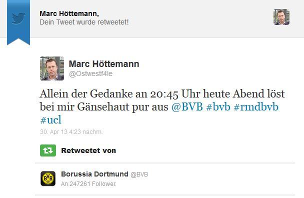 Borussia Dortmund (@BVB) hat einen Deiner Tweets retweetet!