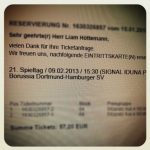 Borussia Dortmund Familienblock 64 Hamburger SV Tickets Eintrittskarte Bundesliga Westfalenstadion