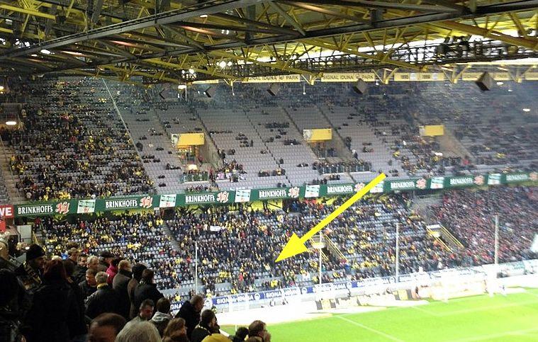Borussia Dortmund Hannover 96 Westfalenstadion Blick auf Nordtribüne Block 62 Ergebnis 3 - 1 am 23 Spieltag