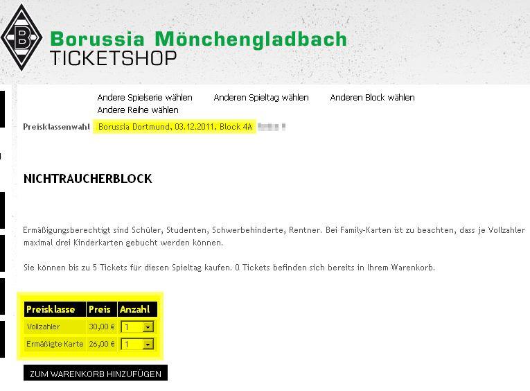 Borussia Mönchengladbach Borussia Dortmund Vorwerkauf Saison 2011 2012