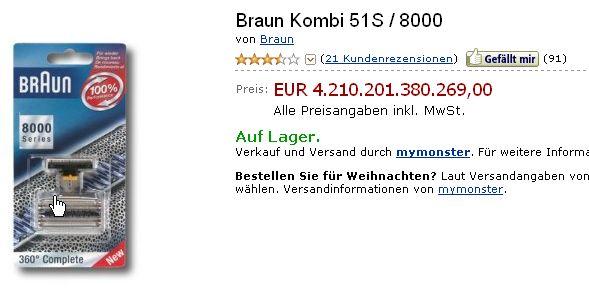 Braun Kombi 51S 8000 amazon.de Preisknüller