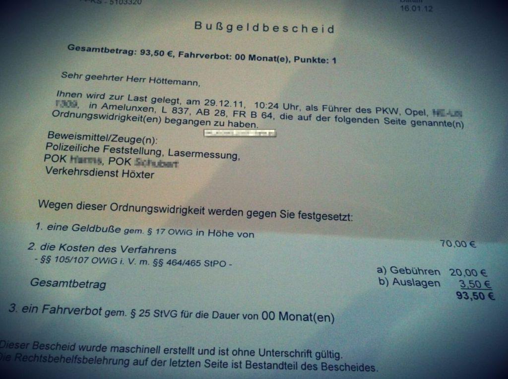 Bußgeldbescheid Amelunxen POK 2011