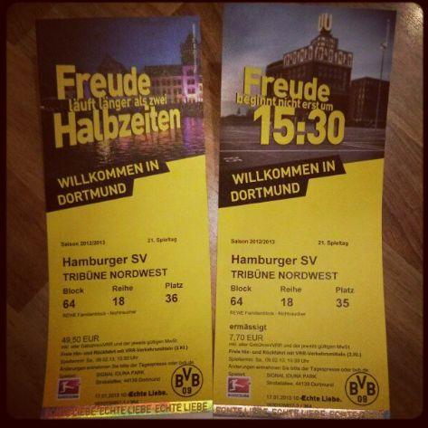 Bundesliga Borussia Dortmund Hamburger SV Saison 2012 2013 BVB HSV Tickets Eintrittskarte