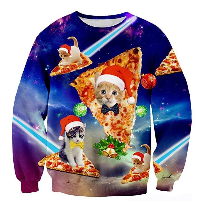 Chicolife hässlich Weihnachten Pizza Katze Print Hipster