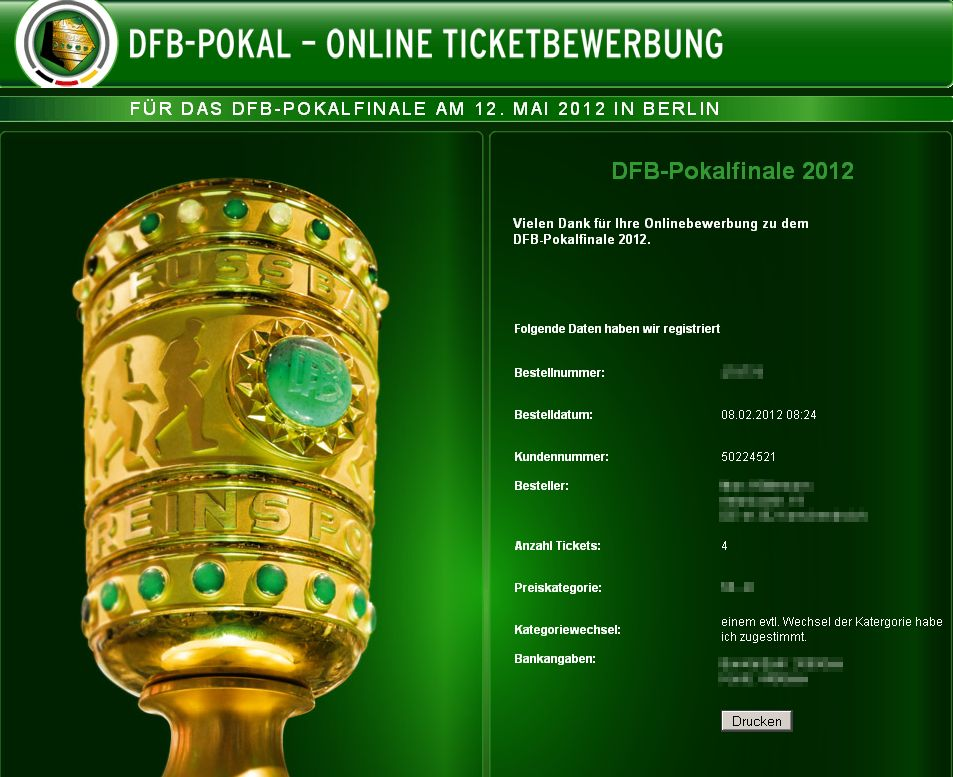 DFB Pokal Online Ticketbewerbung Finale 2012