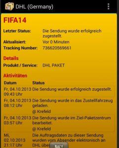 DHL Lieferstatus FIFA 14 buecher.de