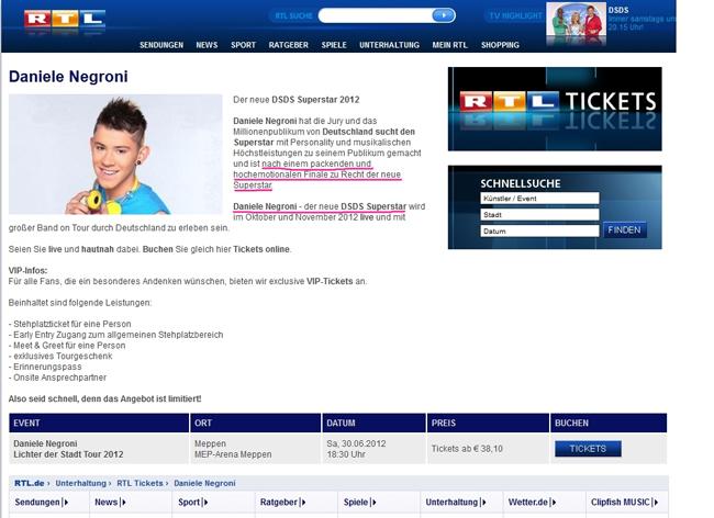 DSDS RTL  Daniele Negroni 2012 Sieger Deutschland sucht den Superstar Fail Tickets