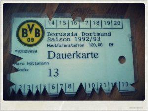 Dauerkarte Borussia Dortmund BVB Saison 1993 1994 Echte Liebe Block 13