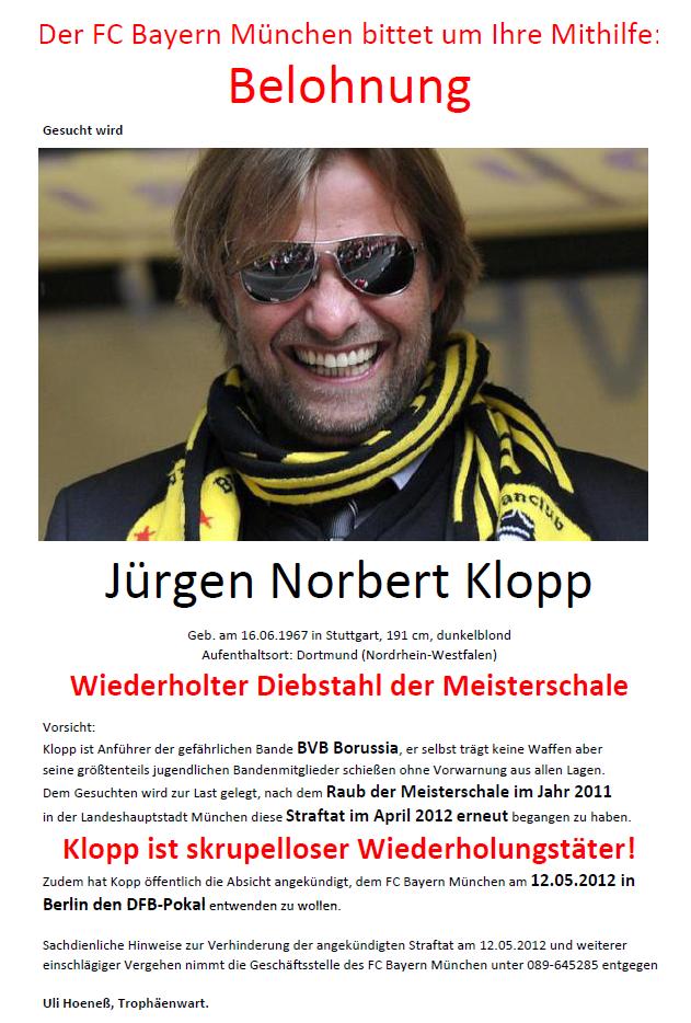 BVB, Bayern München, Double, Pokalsieger 2012, Deutscher Meister 2012, Belohnung, Uli Hoeness Der FC Bayern München bittet um Ihre Mithilfe