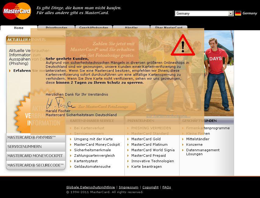 Dieter Hammle MasterCard Phishing Betrug Kriminalität Passwort Fishing