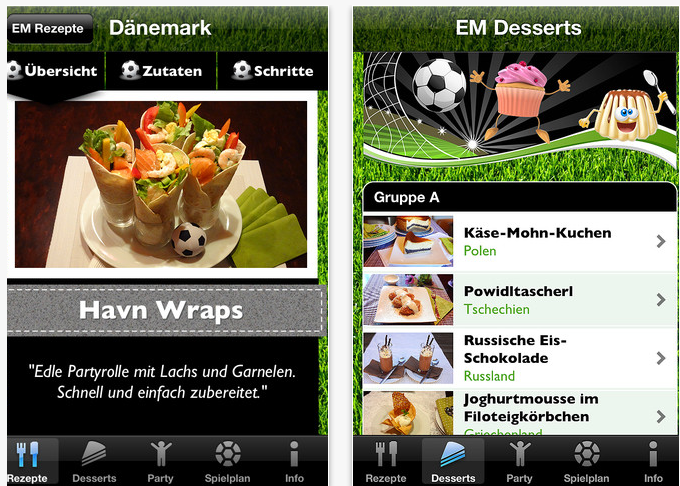 EM Kochbuch 2012 App iPhone 3GS,iPhone 4 iPhone 4S iPod touch