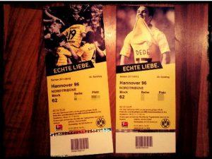 Echte Liebe Borussia Dortmund BVB Eintrittskarte Hannover 96 Saison 2011 2012 Block 62