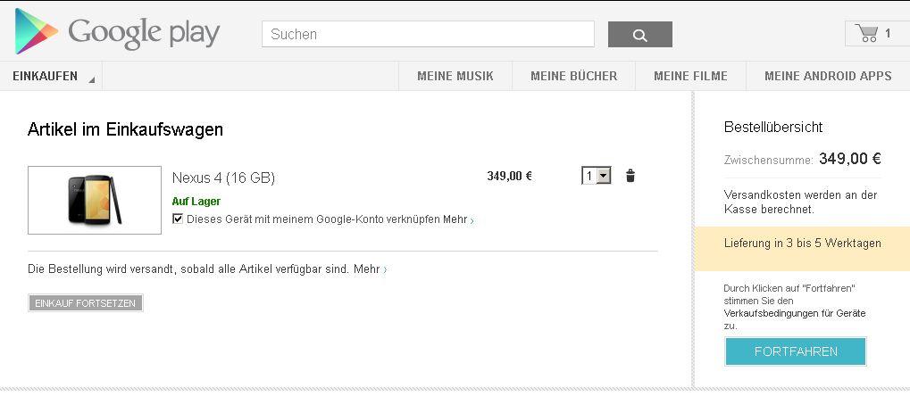 Einkaufswagen - Google Play - Nexus 4 online kaufen