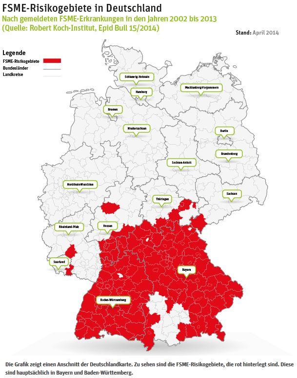 FSME Risikogebiete Deutschland April 2014