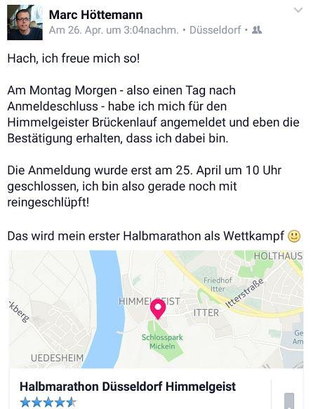 Facebook Halbmarathon Düsseldorf Himmelgeist 2016