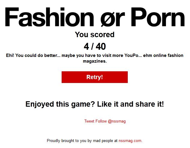 Fashion or Porn Ergebnis