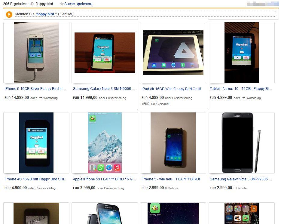 Flappy Bird ebay Auktionen Angebot Smartphone