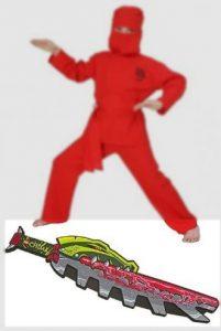 Fries Karneval Ninja Kostüm Grösse 164 mit Lego CHIMA Schwert Amazon