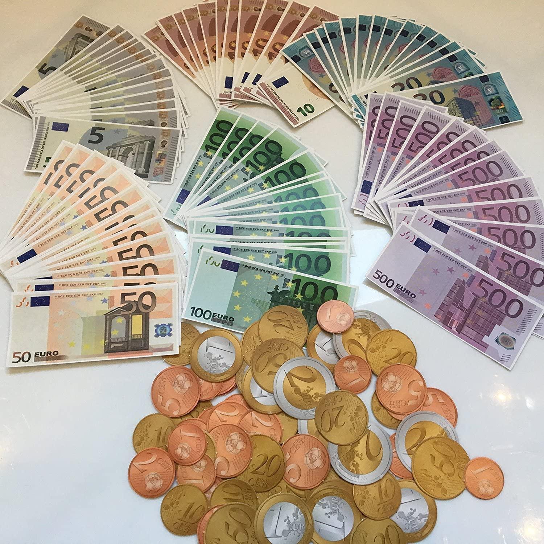 Geld Spielgeld Euro Münzen Scheine