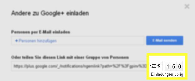 Google+ Einladungen Invites Google Plus