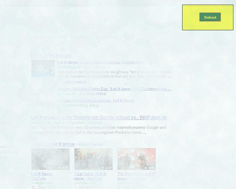 Google Easteregg Let it snow Defrost
