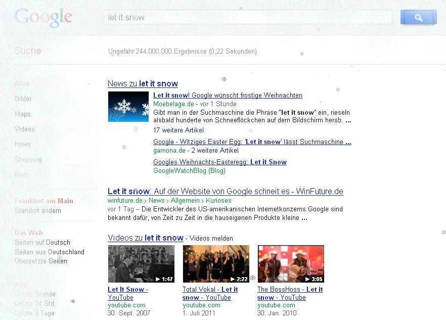 Google Easteregg Let it snow