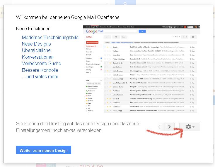 Google Mail neues Layout Erläuterung