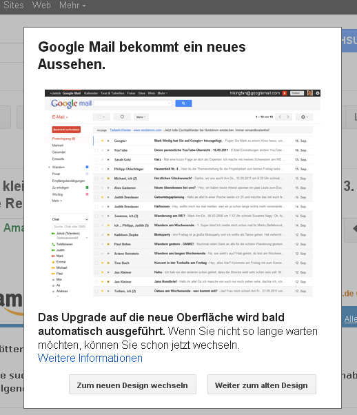 Google Mail neues Layout