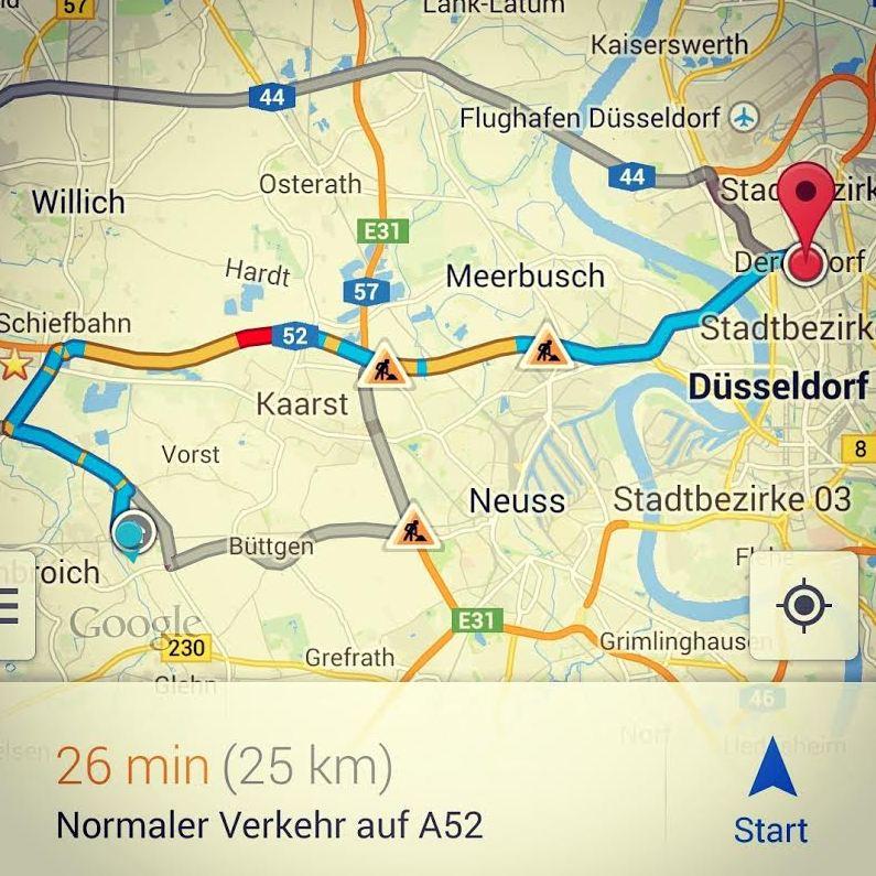 Google Maps Düsseldorf Kleinenbroich Stau Unwetter