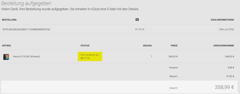 Google Play Nexus 5 Bestätigung