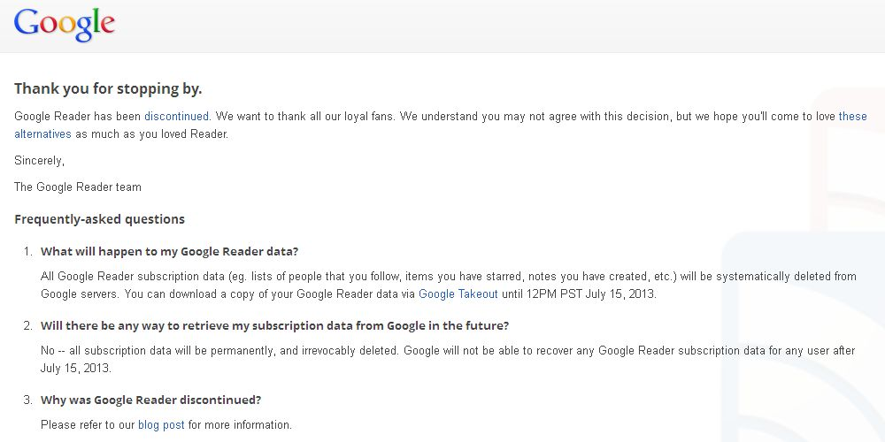 Google Reader Good bye