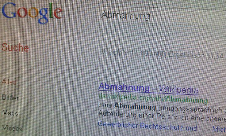 Google Suche Abmahnung Foto Urheberrecht Screenshot