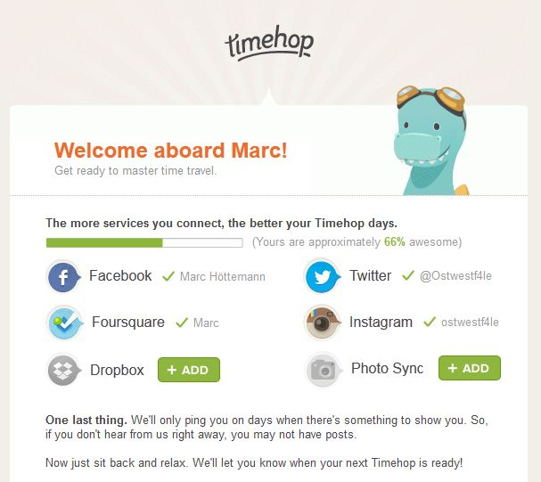 Hi Marc, welcome to Timehop