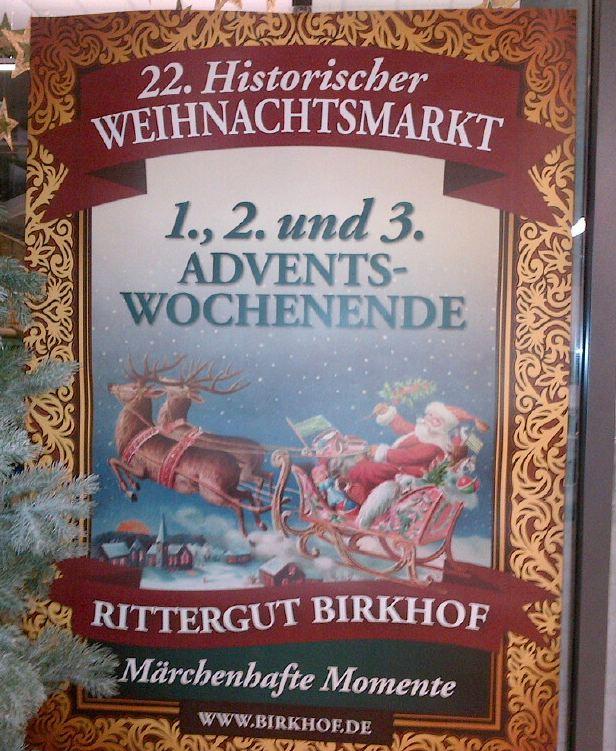 Historischer Weihnachtsmarkt Büttgen Rittergut Plakat