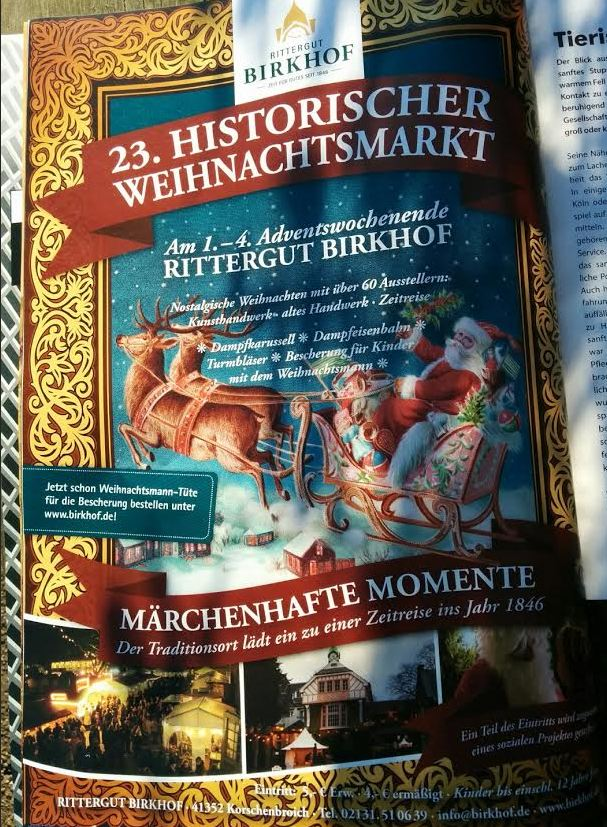 Historischer Weihnachtsmarkt Rittergut Birkhof Anzeige