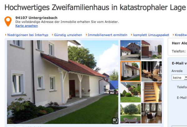 Immobilienanzeige Untergriesbach